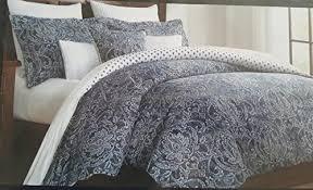 Damask Print Comforter Nicole Miller Duvet Cover King Vintage Damask Denim Blue White 3pc