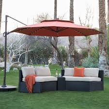 Patio Sets With Umbrellas by Coral Coast 11 Ft Steel Lighted Offset Olefin Patio Umbrella