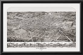 Map Of Ann Arbor Michigan Vintage City Maps Bird U0027s Eye View Map Of Ann Arbor Michigan 1866