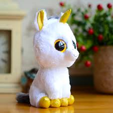 wholesale ty beanie boos kids plush toys big eyes white unicorn