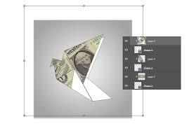 Origami Illustrator - how to create origami birds using one dollar bills in adobe photoshop
