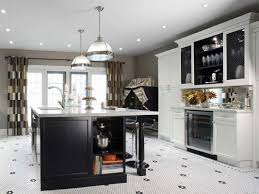 black and white kitchen decoration using black and white glass