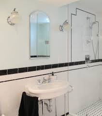 bathroom wall light in art deco style with chrome fittings