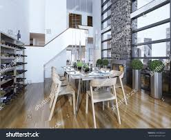 dining room table with wine rack dining room modern style fireplace home stock illustration