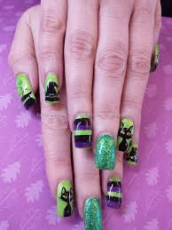 green black and purple freehand witchy halloween nail art nails