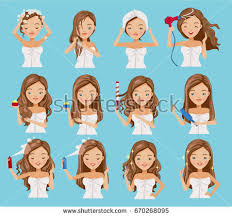 images of hair cute teenage girl washing her hair stock vector 670268095
