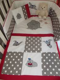 Duvet Baby Dumbo Baby Quilt Cover Emroidered Dumbo 7 Piece Baby Bedding Set