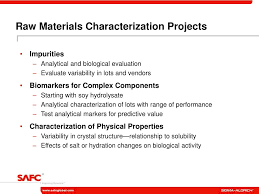 ppt safc biosciences raw materials characterization initiative