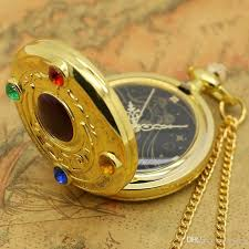 watch chain necklace images Golden sailor moon quartz pocket watch chain necklace classic jpg