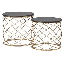 small gold side table set of 2 gold loop side tables contemporary gold nest of tables with