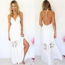 white summer dress women summer boho lace maxi evening party dress