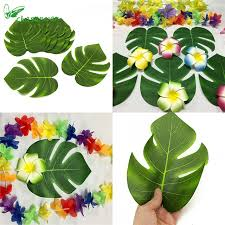 hawaiian theme party chasanwan wedding table decor 24pc artificial tropical palm leaves