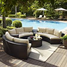 semi circle patio wicker chairs with sectional arm tables rattan