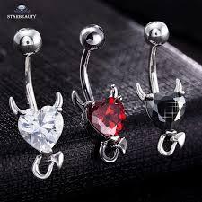 aliexpress belly rings images 1 piece 316l stainless steel garnet heart zircon crystal devil jpg