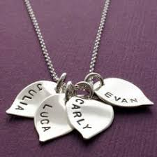 necklaces with children s names personalized necklace with two large custom shapes