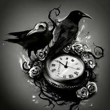 clock and raven tattoo design