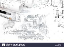 drawing floor plans by hand home renovation concept with architectural blueprints and hand