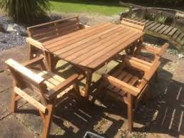patio table with 4 chairs heavy duty wooden garden patio furniture 6 ft table 1 bench and 4