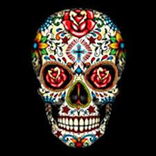 sugar skull with roses garden flag