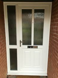 Front Doors With Glass Side Panels White Upvc Door And Side Panel Mullion And Midrail Giving Strong
