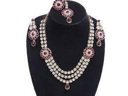 red necklace jewelry images Fashion jewelry set india red long kundan necklace bollywood jpg