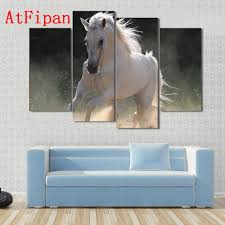 compare prices on canvas art horses online shopping buy low price atfipan modern canvas art white horse running in dust forest hd canvas paintings on the