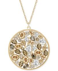 gold necklace swarovski images Swarovski gold plated pendant drop necklace fashion jewelry tif