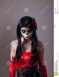 sugar skull with red rose stock photography image 34206932