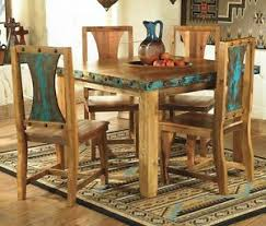 Azul Rustic Kitchen Table Set Country Western Log Cabin Wood - Rustic kitchen tables
