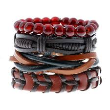 leather bracelet cuff women images 4pcs set fashion trendy punk weave wrap strand women anchor jpg