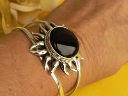 sterling silver black onyx bracelet images Bracelets taxco sterling silver 925 mexican black onyx cabochon jpg