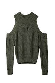 green sweaters army green cutout shoulder knitted from ideology epic wishlist