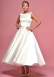 retro tea length satin wedding dress with collar u2013 jojo lace