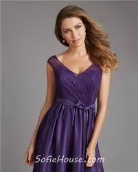 purple lace bridesmaid dress a line v neck cap sleeve low back purple satin lace