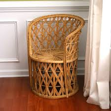 vintage rattan chair summer home decor wicker geometric mid