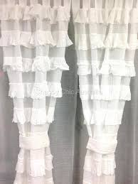 White Ruffle Curtain Panels 2 Shabby French Provincial Curtains Drapes Grey Vintage Smocked
