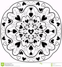black and white abstract zentangle heart mandala stock vector