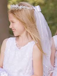 holy communion veils veil w flowers rhinestones