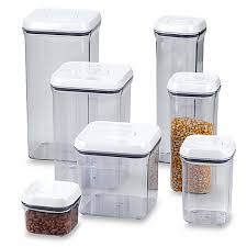 clear plastic kitchen canisters oxo grips square food storage pop container bed bath beyond