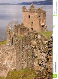 ruins of urquhart castle at loch ness in scotland stock images