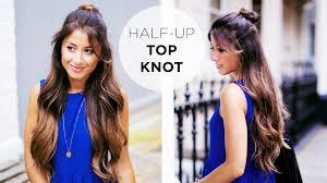 half up top knot hairstyle tutorial youtube