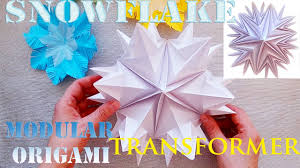 turn in a large snowflake snowflake origami transformer 3d