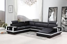 casa 5102 modern black u0026 white bonded leather sectional sofa