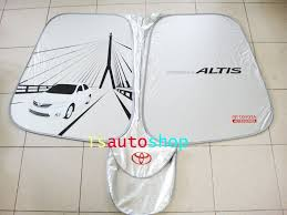 front side mirror sun shade nylon silver genuine toyota corolla