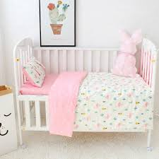 Crib Bedding Pattern 3 Pcs Set Baby Bedding Set Cotton Flamingo Grey Cloud Pattern