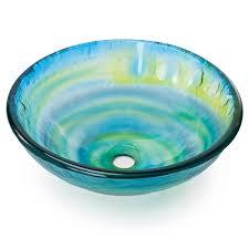 tempered glass vessel bathroom vanity sink round bowl glazed multi