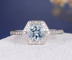 conflict free engagement rings unique aquamarine engagement ring white gold march birthstone