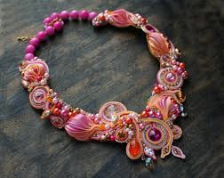 gold orange necklace images Soutache necklace black necklace with agate and crystal jpg