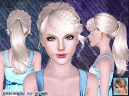 the sims 4 cc hair ponytail messy ponytail hairstyle 140 by skysims sims 3 hairs