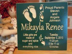 Baby Plaques Personalized Baby Birth Gift New Baby Name Personalized Carved By Tkwoodcrafts